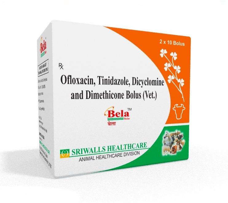 Veterinary Ofloxacin, Tinidazole, Dicyclomine & Dimethicone Bolus